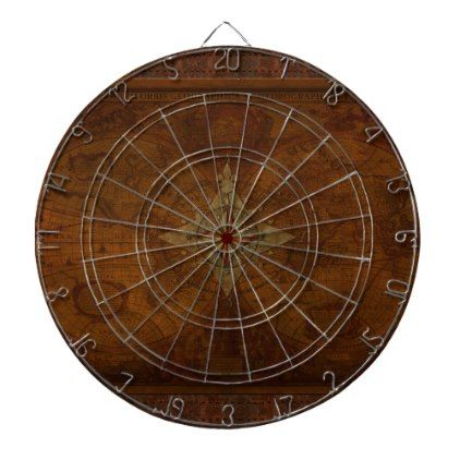 Steampunk Old World Map & Compass Rose Design Dartboard With Darts - vintage gifts retro ideas cyo