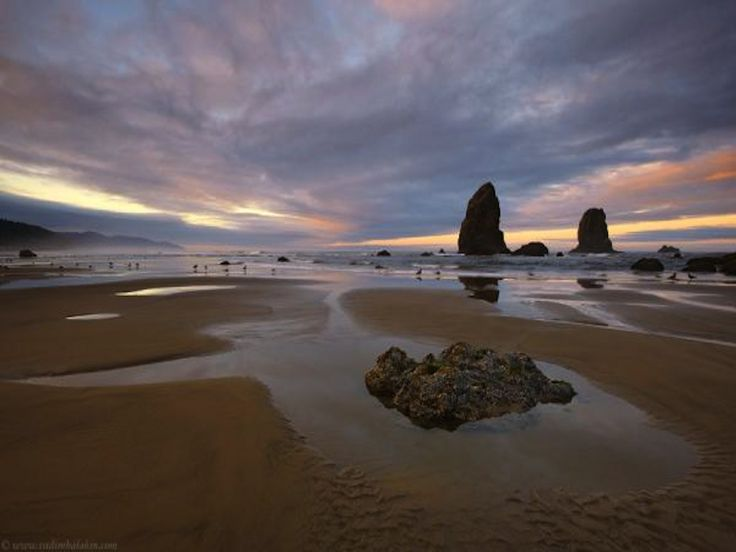 cannon beach, oregon | zonsopgang op cannon beach, oregon wallpaper