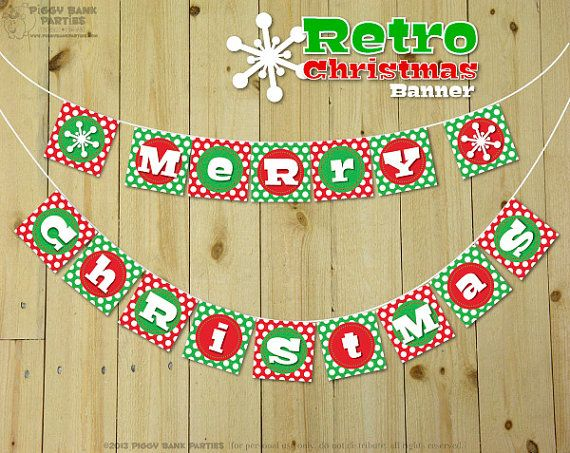RETRO CHRISTMAS Banner - DIY Printable Merry Christmas Banner // Print at Home Holiday Bunting // Vintage Inspired Banner - Instant Download