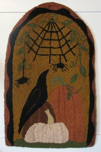 "Primitive Hooked Rug Pattern ""Under The Web"" Crow Pumpkins Halloween | eBay"