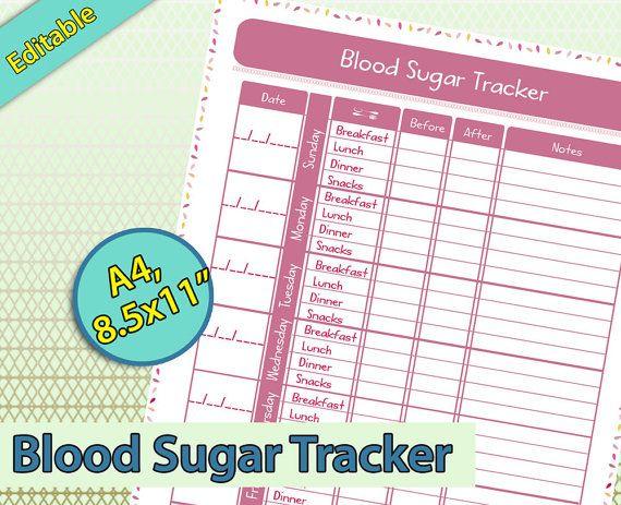 Blood Sugar Tracker Editable Blood Sugar Log Track Blood