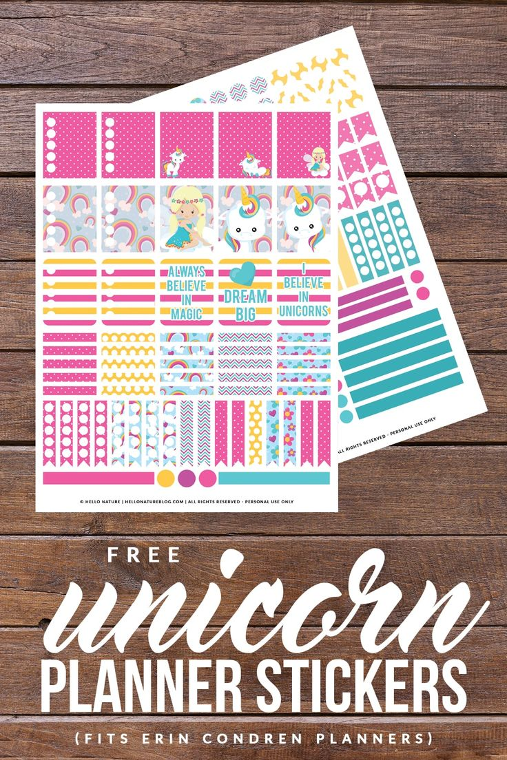 Download these FREE Unicorn Printable Planner Stickers to make your planner even more magical! Fits Erin Condren and Happy Planner!