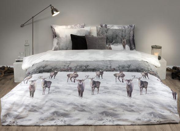 Refined dekbedovertrek flanel Elk grijs ,lekker warm flkanel, kerstplaatje, winterse sfeer