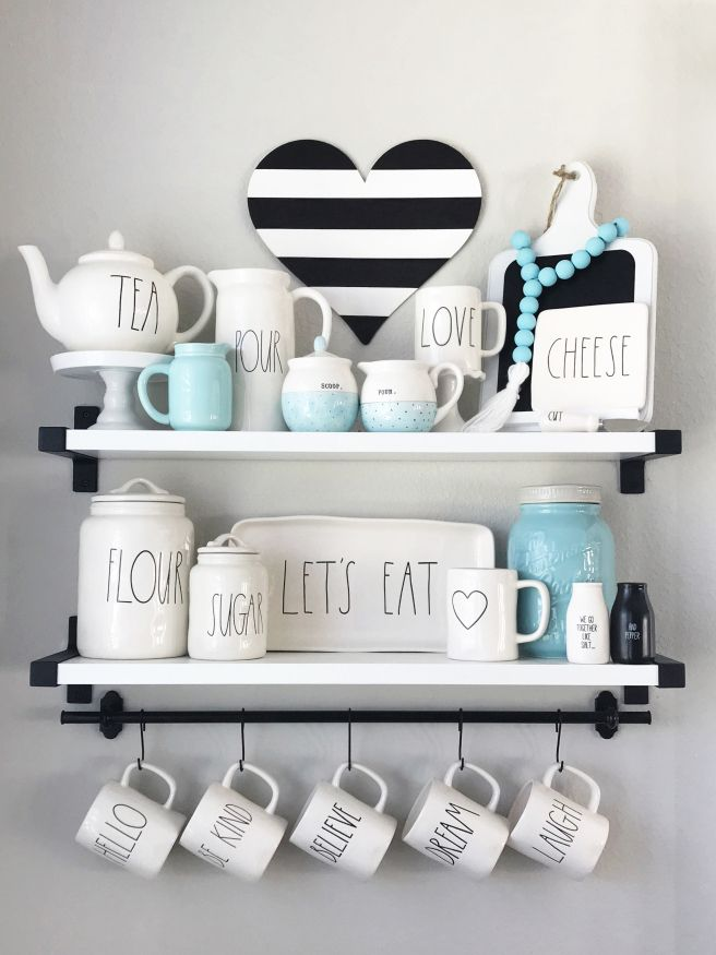 rae dunn display black white and teal kitchen source lollipopsandlights - Kitchen Source