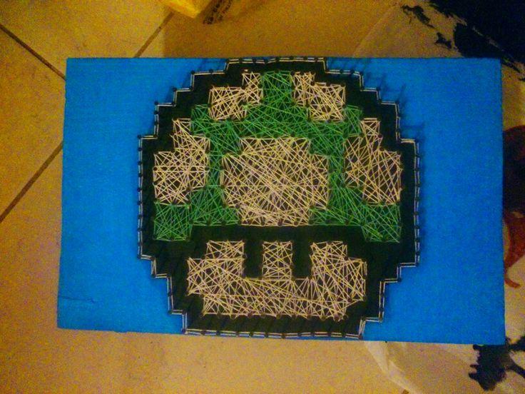 quadro de linhas cogumelo do mario meu terceiro quadro by douglas paes rsrs