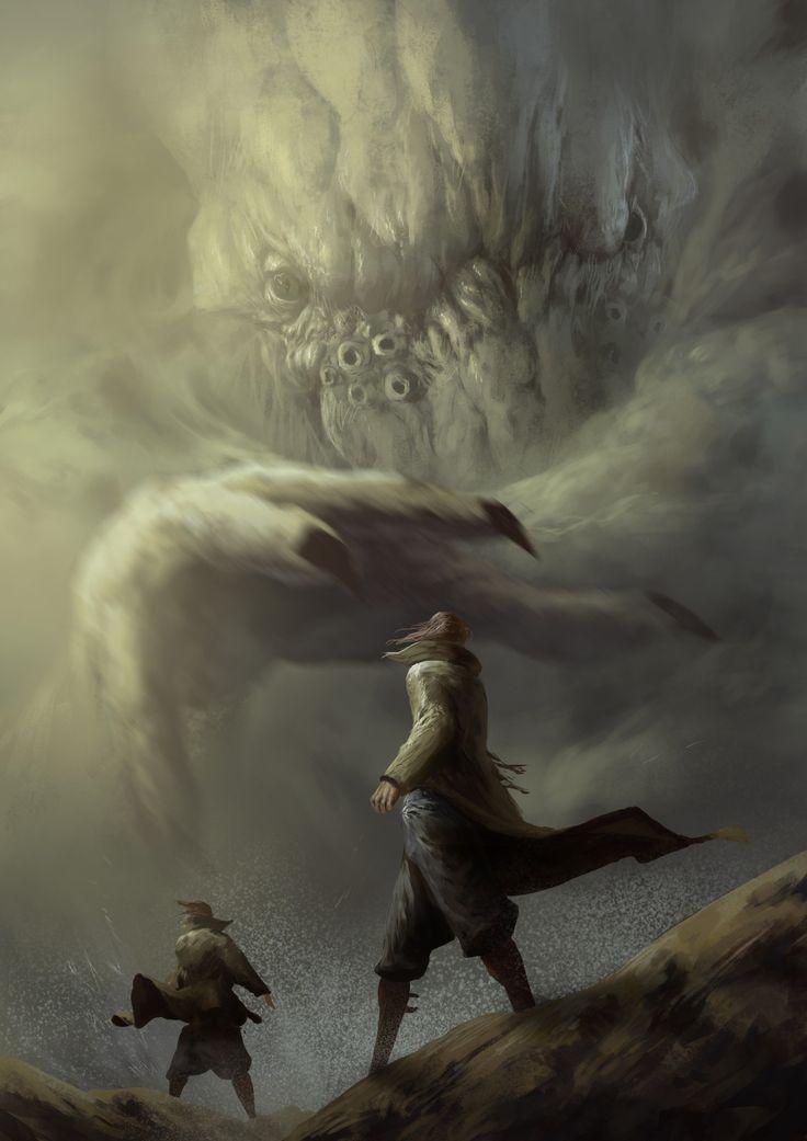Cthulhu chasing, Pierre Mareschal on ArtStation at https://www.artstation.com/artwork/43qe4