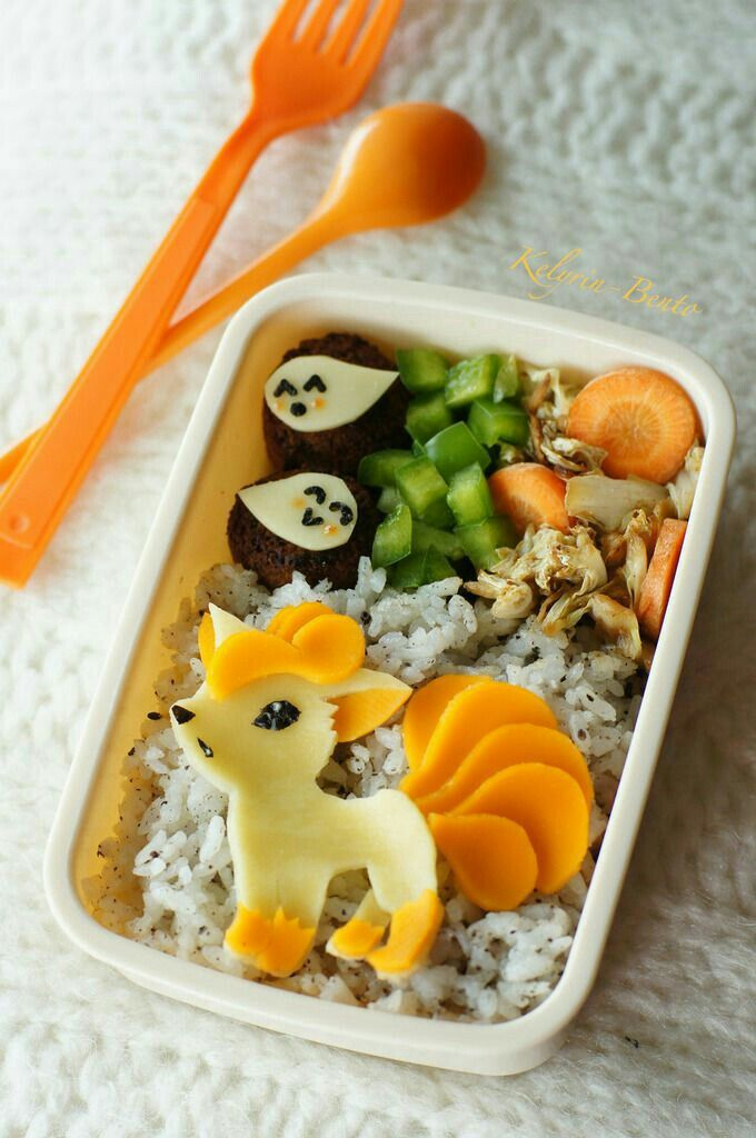 Vulpix, Pokémon, bento, boxed lunch; Anime Food