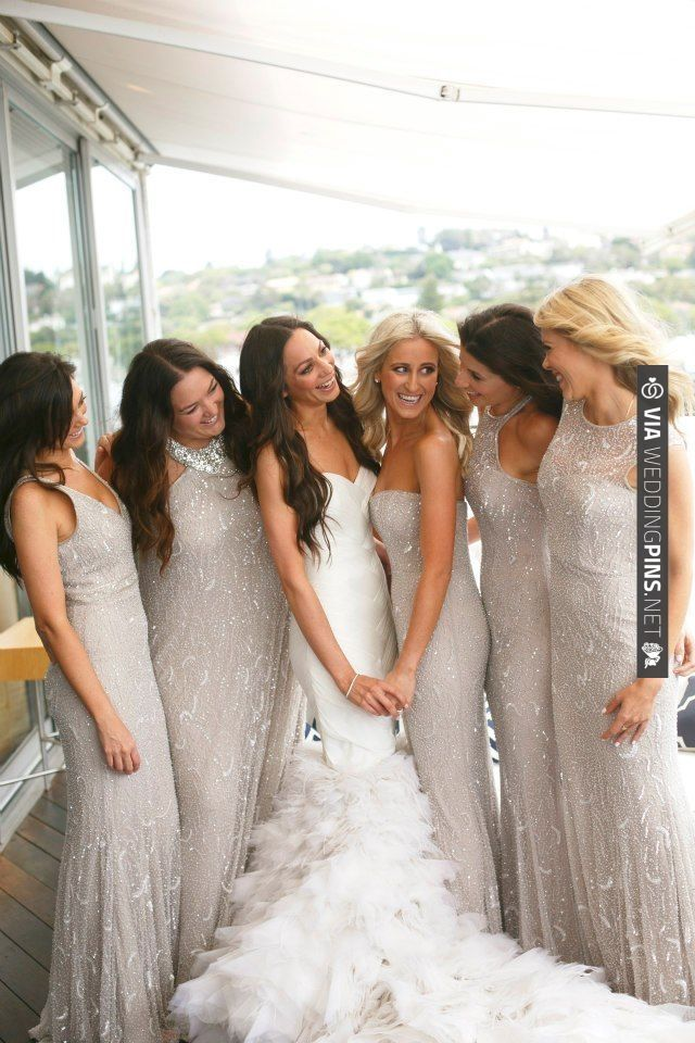 sparkly bridesmaids dresses, love!!