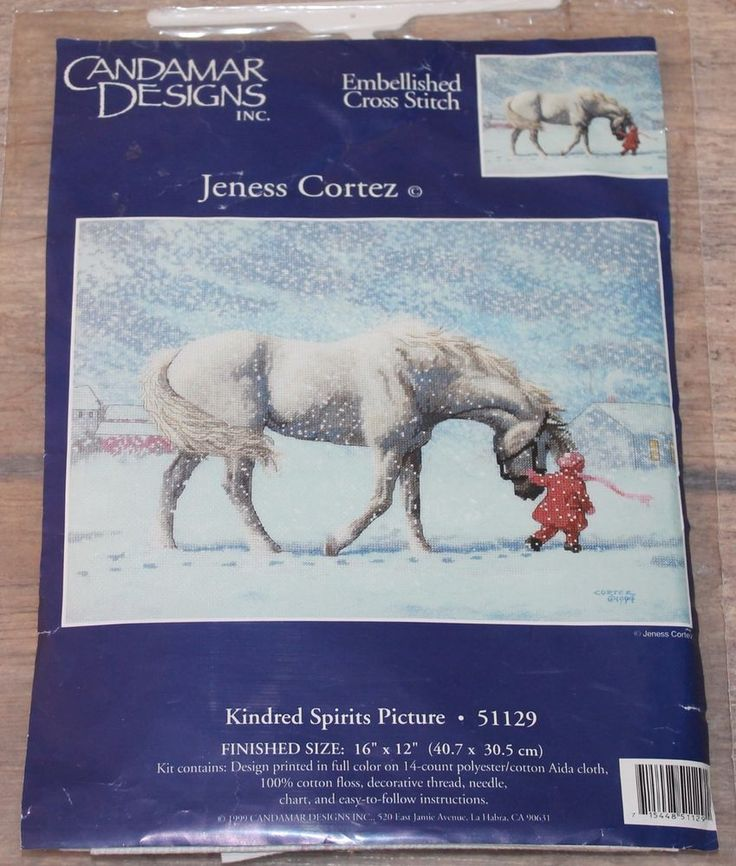 Kindred Spirits Picture - Candamar Designs Embellished. Cross Stitch Kit # 51129 NIP RARE. This is a great item to add to your cross stitch collection. This kit is RARE and hard to find. Kit contains: Design printed in full color on 14 count polyester/cotton Aida cloth .   eBay!