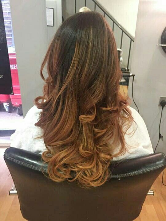 Long hair, ombre, curly hair, balage