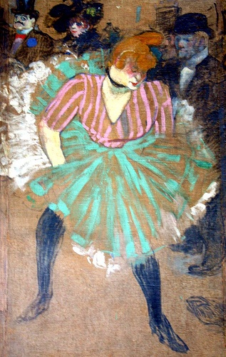 Toulouse Lautrec ~Bawdy, most certainly. Does the woman look like a drag queen- yes. But the flash of color- the economy of pastel strokes...amazing!