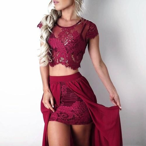2 Piece Prom Gown,Two Piece Prom Dresses,Burgundy Evening Gowns,2 Pieces Party Dresses,Burgundy Evening Gowns,Formal Dress For Teens MT20180741