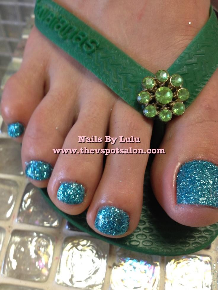 Blue glitter toes    I❤ glitter toes!!!!