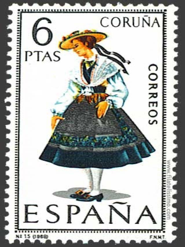 Spain Stamp -  Regional costume Coruña