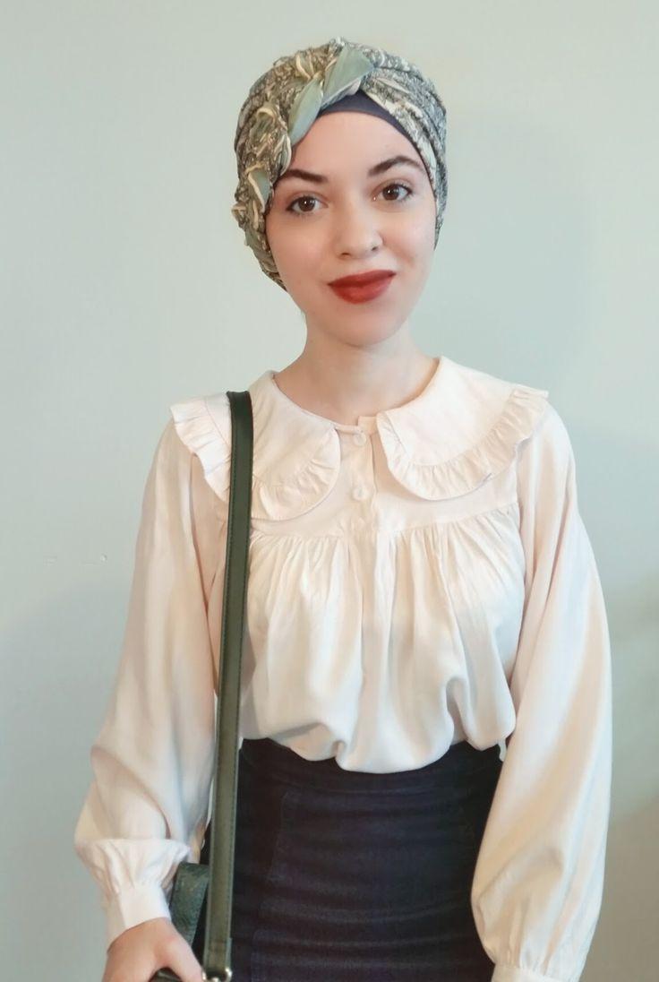 Vintagonista: peter pan collared blouse, turban-hijab and denim pencil skirt