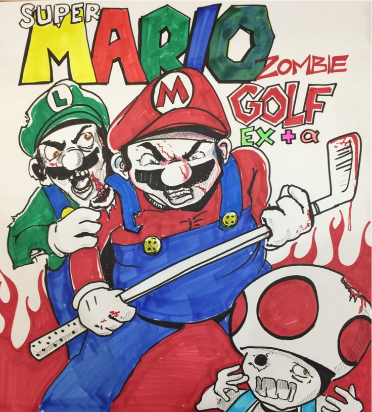 Super Mario Zombie Golf EX + Alpha! Marker on cardboard for in-store display. No this isn't a real game, but just try to convince me it shouldn't be. Follow me for more rad artworks!