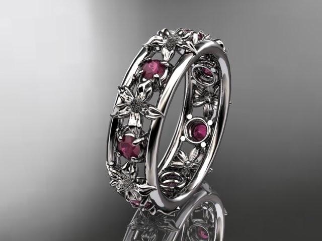 14kt white gold diamond leaf wedding ring,engagement ring, wedding band.