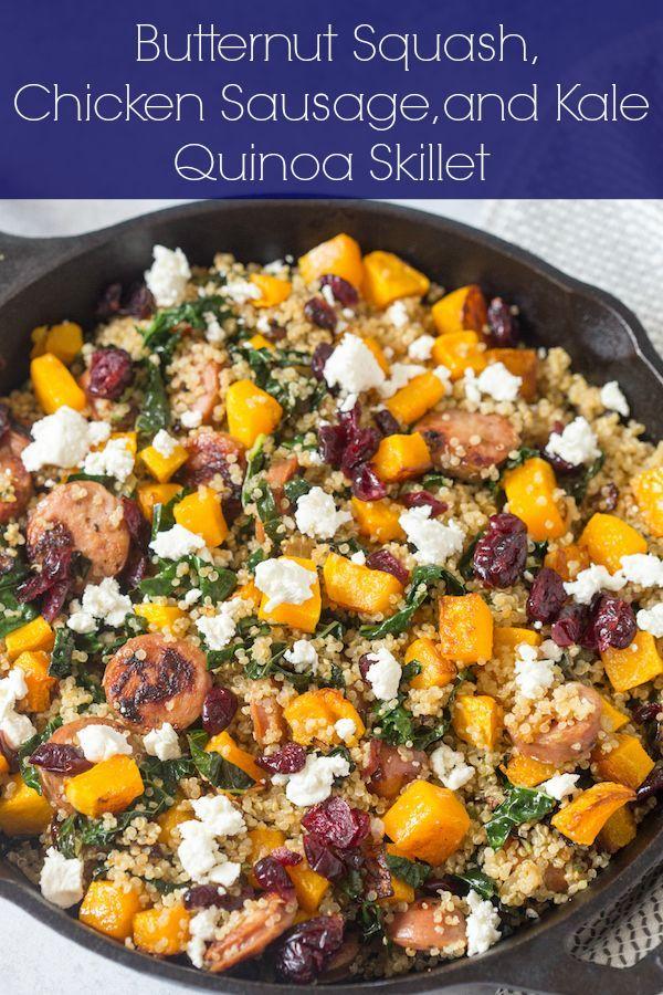 Butternut Squash, Chicken Sausage, and Kale Quinoa Skillet