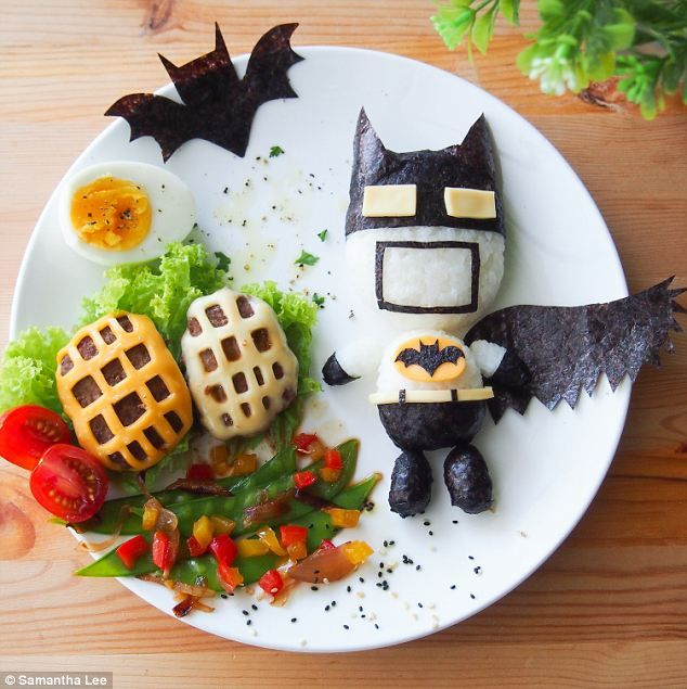 Dark Knight: Batman's logo is made from cheese and nori, while his body is white rice