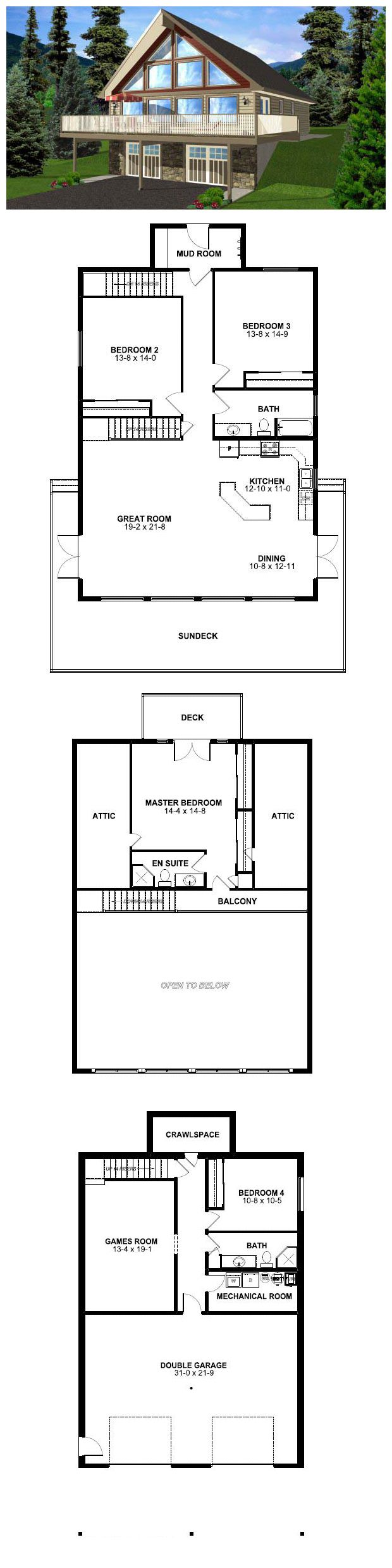 House Plan 99976 | Total living area: 3164 sq ft, 4 bedrooms & 3 bathrooms. This spacious home is ideal for year round living with four bedrooms, three bathrooms and ample room for relaxing or entertaining. Complete with a two car garage, you will be ready for either relaxing by the lake or on the slopes.