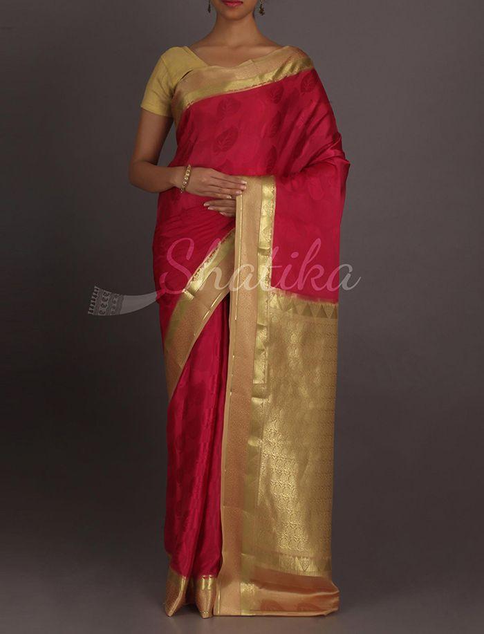 Veena Swaying Leaf Motifs Contrast Pure #MysoreSilkSaree