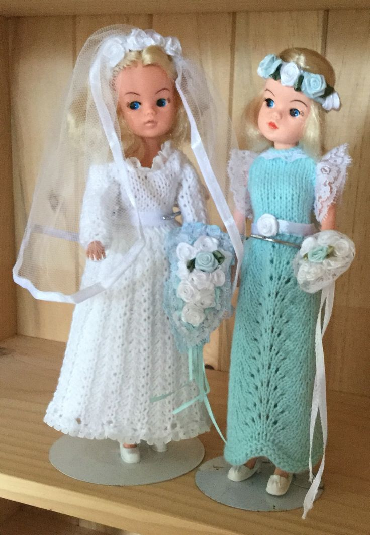 The dresses are made from vintage Sindy doll knitting patterns with my own twist