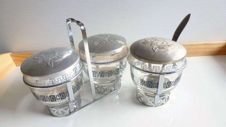 Vintage Libbey Glass Condiment Caddy, Mid Century Kitsch Condiment Set, 3 pc Entertaining Serving Set by TrashMaMa on Etsy