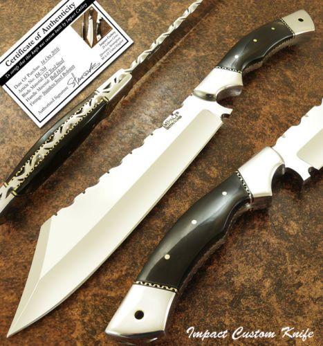 IMPACT CUTLERY RARE CUSTOM BUSHCRAFT BOWIE KNIFE FULL TANG BULL HORN HANDLE   Предметы для коллекций, Ножи, мечи и клинки, Коллекционные ножи с фиксированным клинком   eBay!
