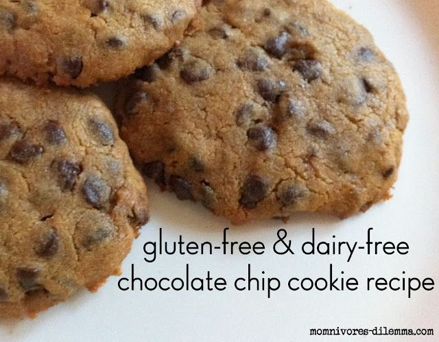 momnivore's dilemma: gluten-free & dairy-free chocolate chip cookie recipeChocolate Chips, Chocolates Chips Cookies, Dairy Fre Chocolates, Dairy Free, Cookies Recipe, Chocolate Chip Cookie, Gluten Free, Gluten Fre Chocolates, Cookie Recipes
