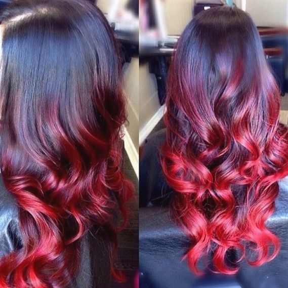 12-26 Inch #1b/red Ombre Loose Wave Remy Hair Weave 100g/bundle