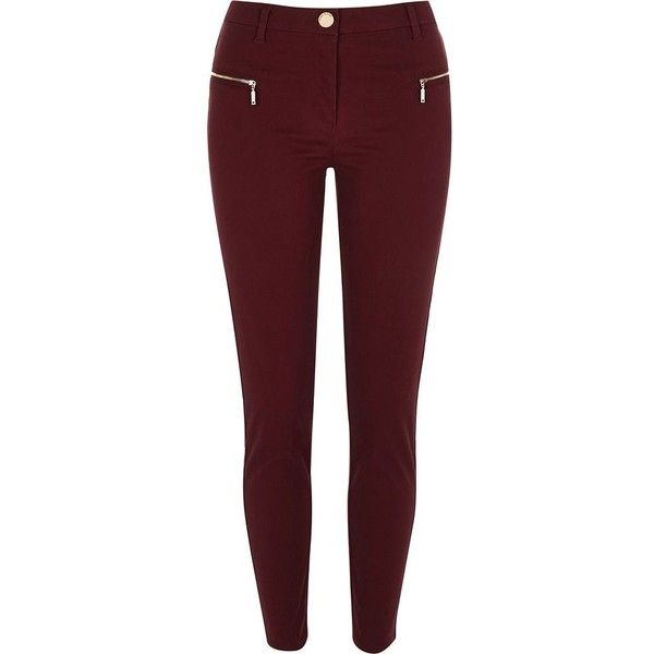 River Island Red twill zip skinny pants found on Polyvore featuring pants, jeans, bottoms, red, women, skinny pants, skinny trousers, red trousers, zipper trousers and twill pants
