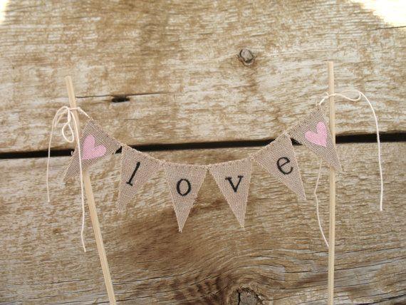 Classic Love Baker Banner Wedding Cake Topper in Lowercase, black Lettering, tea dyed cotton.