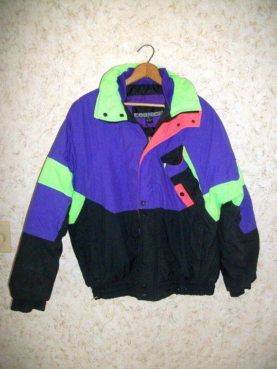 53f15007f2b 80s Neon Puffy Ski Jacket Cornice Purple Black Green Zippered Front 1980s  Vintage Retro Snow Coat Hip Hop Hipster Mens Large