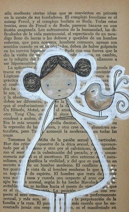 Arte en papel. pintura sobre pagina de libro (o periódico) cartoon art using page of a book