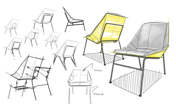 Upcycled chair on behance drawing furniture pinterest for Furniture design sketches