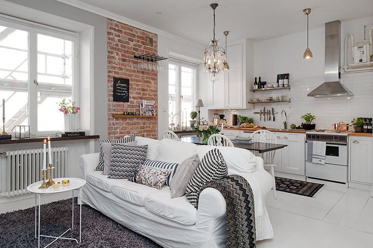388 sq ft Swedish Apartment with White Decor. Highlights: interior bricks, kitchen extractor, shag rug, hanging utensils, use of sofa as kitchen/ living room soft separator Lowlights: white decor, horrible sofa, crappy table