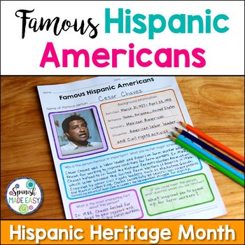 This is a research project over famous Hispanic Americans in honor of Hispanic Heritage Month. Students will learn about the background information and major achievements of famous Hispanic Americans such as singer Celia Cruz, baseball legend Roberto Clemente, author Isabel Allende, astronaut Ellen Ochoa, and educator Jamie Escalante.