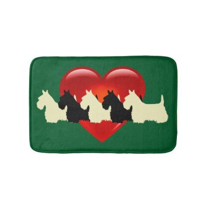 Scottish Terrier/red heart/Kelly/Irish green Bath Mat - black gifts unique cool diy customize personalize