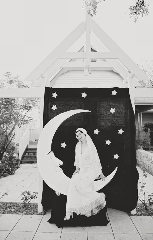 This is a perfect picture. I want our starry midsummer's night theme to be interpreted in vintage glam style circa 1920s Wedding || Over The Moon  || E + A