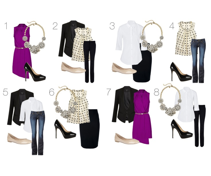 Wardrobe Essentials Outfit Ideas.  Need to learn to mix and match!