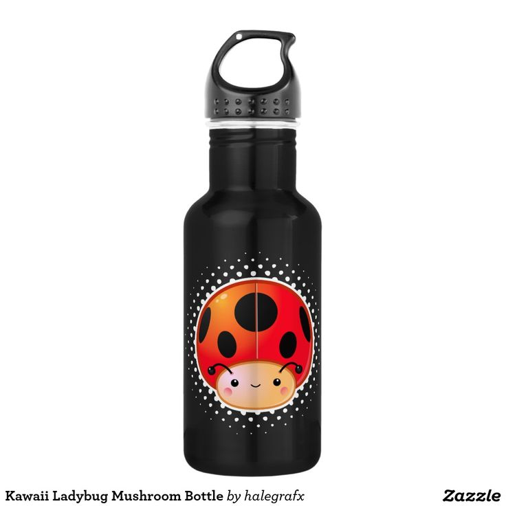 Kawaii Ladybug Mushroom Bottle. Producto disponible en tienda Zazzle. Product available in Zazzle store. Regalos, Gifts. Link to product: http://www.zazzle.com/kawaii_ladybug_mushroom_bottle-256889674347959413?CMPN=shareicon&lang=en&social=true&rf=238167879144476949 #bottle #botella