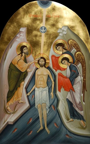 "IC.XC__ "" η Βαφτιση""   ""The Baptism.""    jan 6   ( Festival icon. 2013 by Olga Shalamova & Philip Davydov"