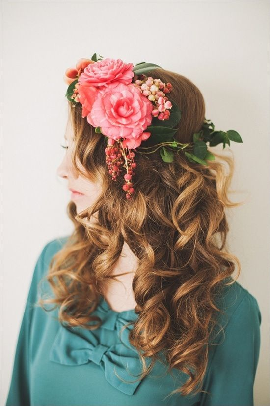 Bohemian wedding pink floral headpiece http://www.weddingchicks.com/2013/05/16/fresh-floral-headpieces/