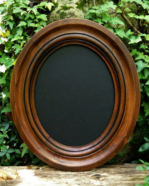 Rustic Oval Frame, Solid Wood Frame, Small Wood Oval Frame, Solid Wood Oval
