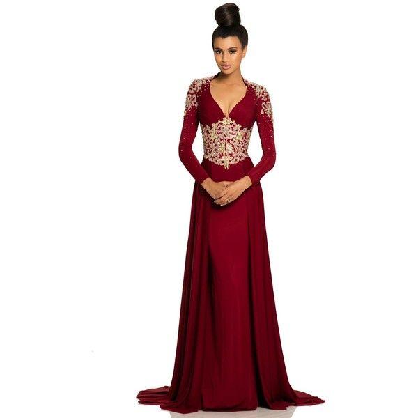 johnathan kayne 8107 christmas dress long v neck long sleeve 665 cad - Long Christmas Dresses