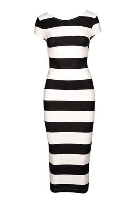 Sırt Dekolteli Çizgili Elbise 5114