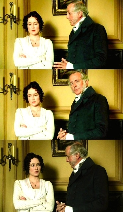 """An unhappy alternative lies before you, Elizabeth. Your mother will  never see you again if you do not marry Mr Collins, and I will never  see you again if you do."" ~ Mr. Bennet"