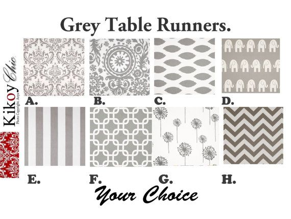 Grey Table Runner Gray  Table Runner.Grey Table by KikoyChic, $15.00