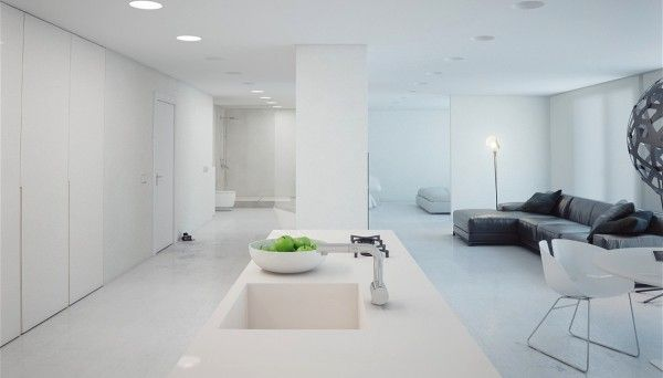 open minimalist white apartment