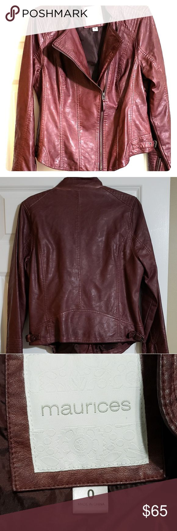 Maurices faux leather jacket Burnt burgundy colored faux